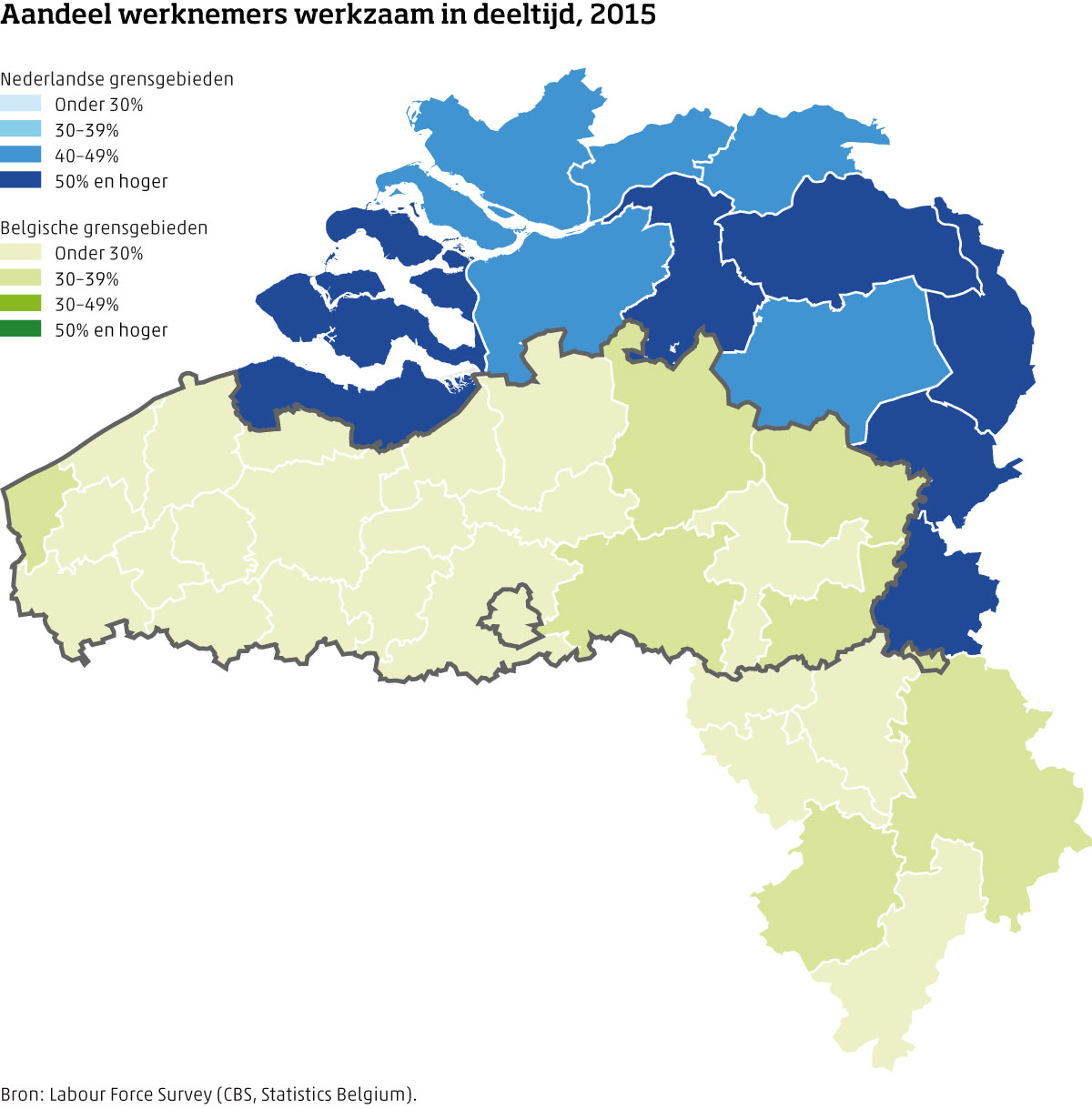 Kaart aandeel werknemers werkzaam in deeltijd Nederland - België