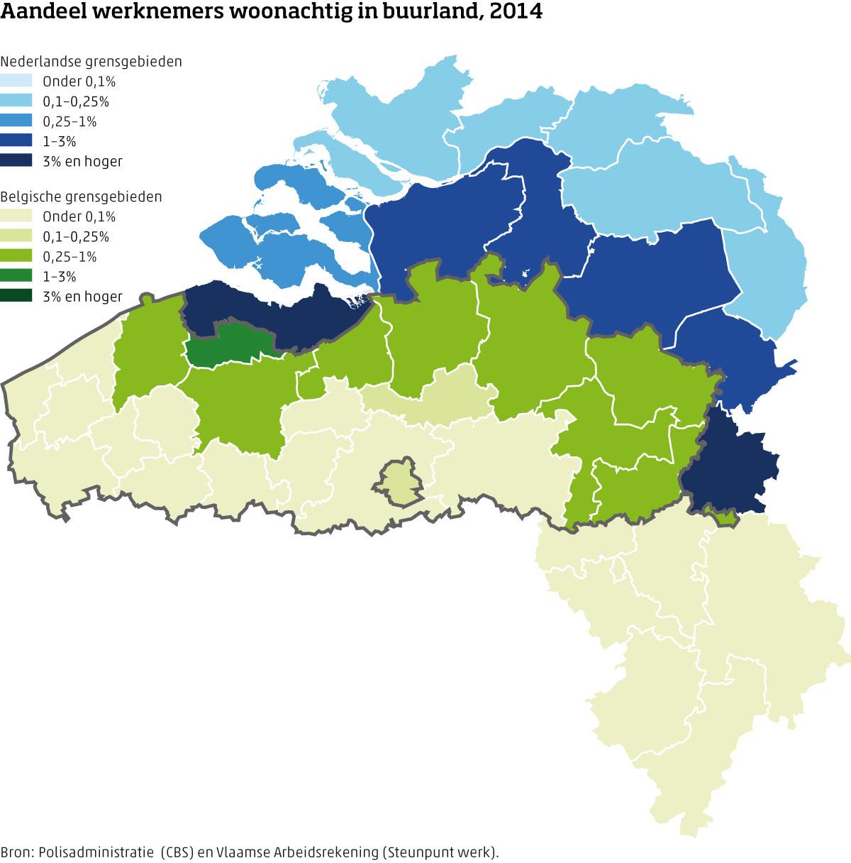Kaart aandeel werknemers woonachtig in buurland Nederland-België