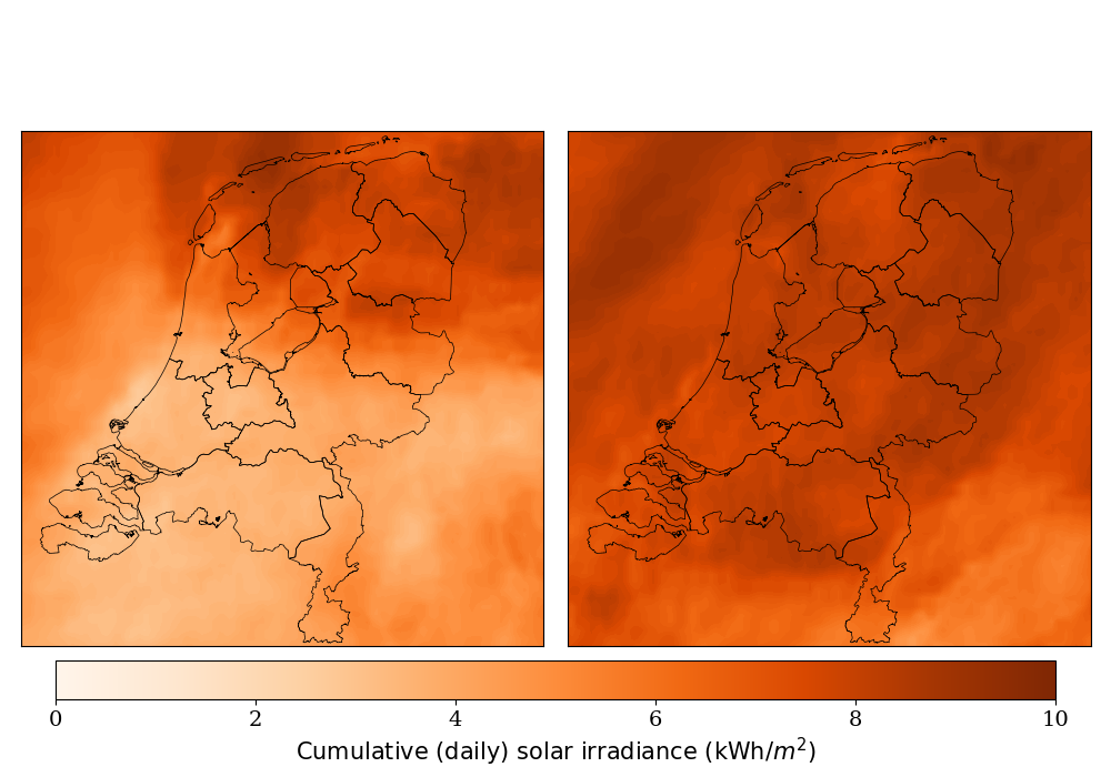 map Netherlands irradiance