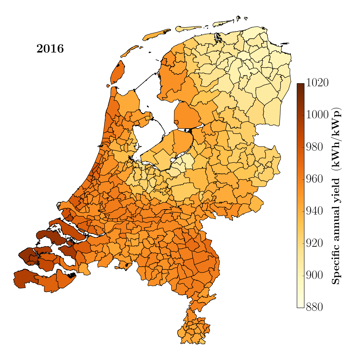 Map of the NetherlandsSolar power per day and per region 2016