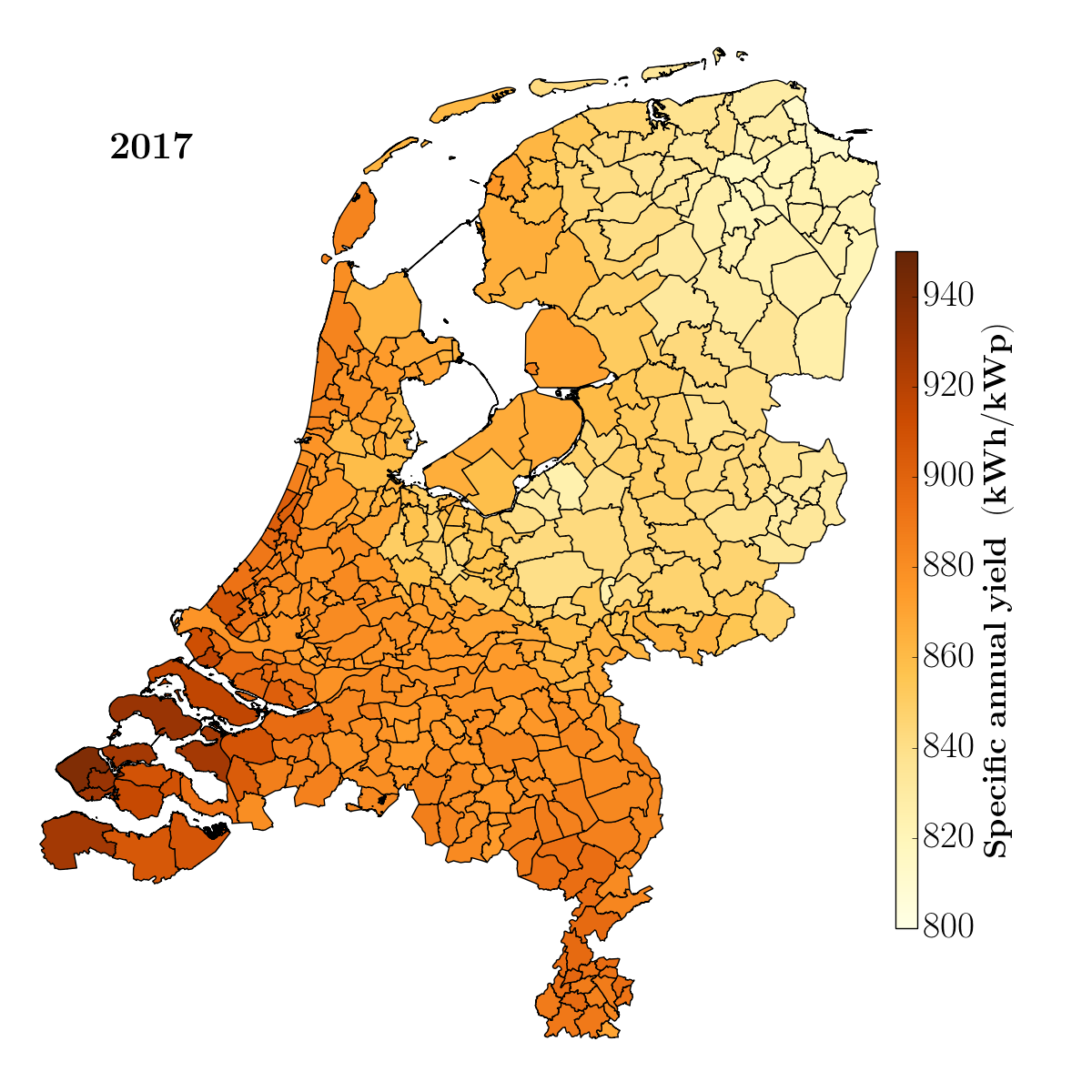 Map of the Netherlands Solar power per day and per region 2017