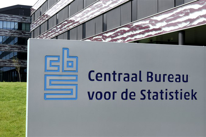 The Heerlen office of Statistics Netherlands, with a sign in the foregrond displaying it's logo and the full dutch name in text: Centraal Bureau voor de Statisitiek.