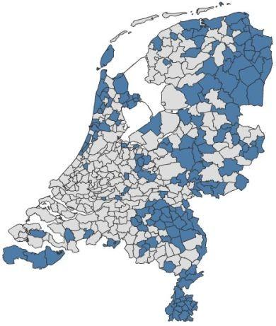 Gemeenten met een bovengemiddeld aandeel personen met een arbeidsongeschiktheidsuitkering (meer dan 70 per 1 000), juni 2010